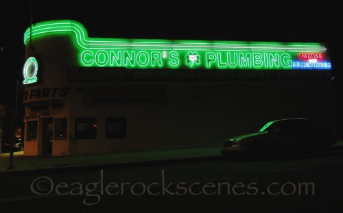 Connors Plumbing from side, slow shutter speed