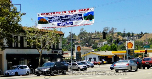 Concerts in the Park sign over Colorado Blvd.