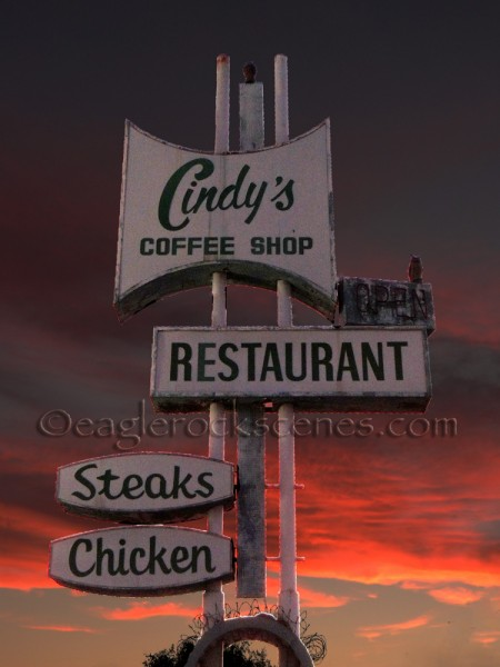 The Cindy's Restaurant sign with Auto Contrast