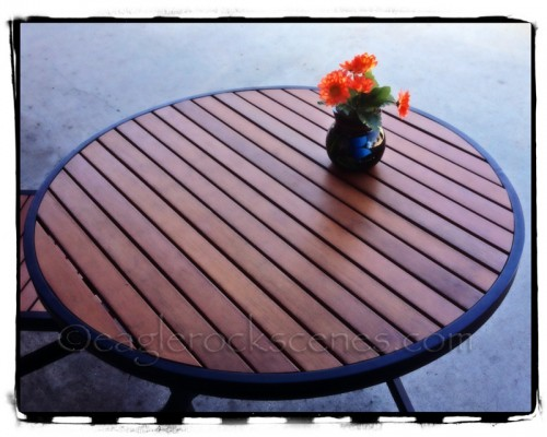 Wide shot of table with flowers