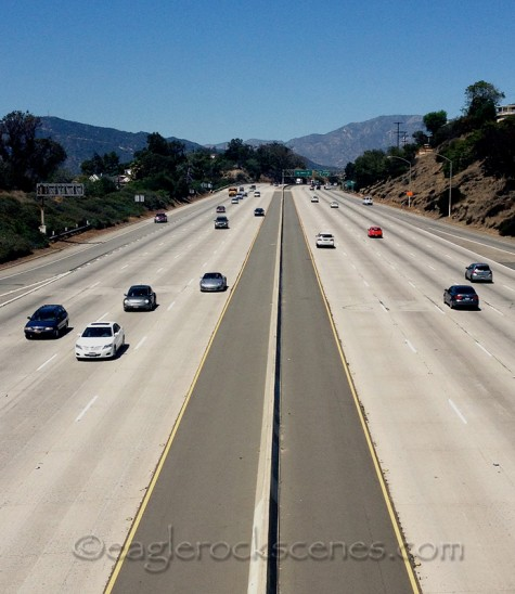 You can see the signs for the 134 freeway in the distance