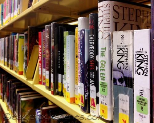 The YA aisle at the Eagle Rock library