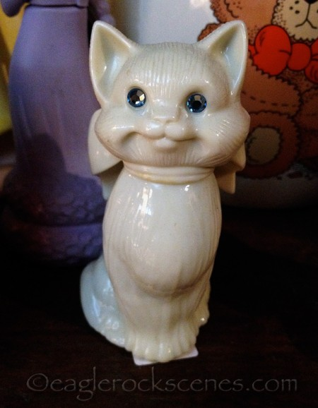 vintage white cat perfume bottle