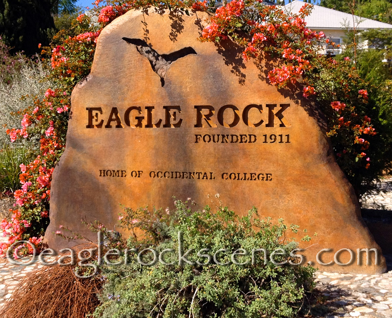 The Eagle Rock sign by the 2 freeway onramp on Colorado welcomes you to Eagle Rock, CA