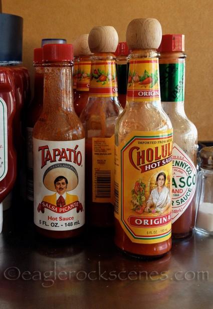 Taco Spot hot sauce selection