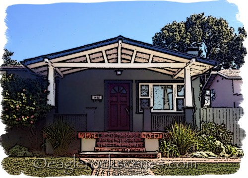 A Craftsman house with line art and watercolor effects