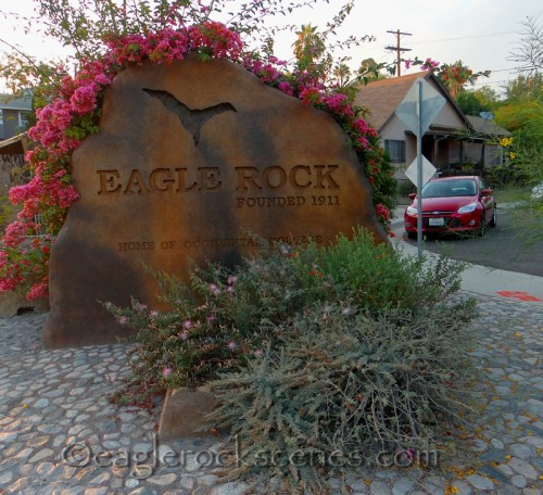 Eagle Rock sign with planter