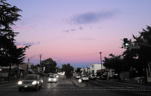 Colorado Blvd. and Maywood Ave., looking east at dusk